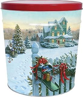 C.R. Frank Popcorn - Gourmet Popcorn Tin, 6.5 Gallon, Christmas Mail (3 Way Butter, Cheese, and Caramel)