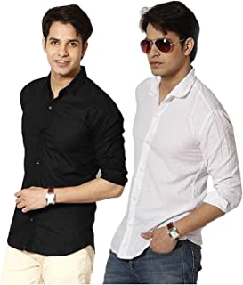 Plain Black casual pack of 2 shirts black nd white 100% Cotton Shirts for Mens for summer wear (Multi, Small)
