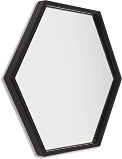Home Selections - Espejo hexagonal para pared (40 cm), negro, 40 cm