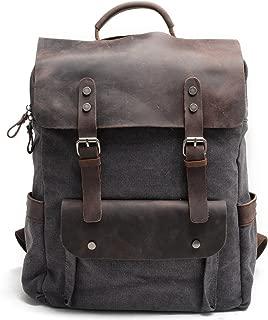 Kenox Leather Canvas Rucksack Laptop Backpack College School Bookbag
