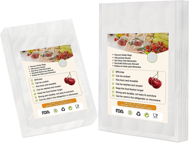 Pemoo Bolsas de Vacio para Alimentos - 200 Bolsas (15x25cm + 20x30cm),BPA Free,para Conservación de Alimentos,Apropiado Varias Envasadora al Vacío