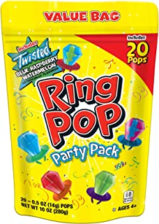 Ring Pop Individually Wrapped Variety Party Pack – 20 Count Candy Lollipop Suckers w/..
