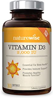 NatureWise Vitamin D3 2,000 IU for Healthy Muscle Function, Bone Health, and Immune Support | Non-GMO and Gluten-Free in Cold-Pressed Organic Olive Oil Capsule [1-Year Supply - 360 Count]