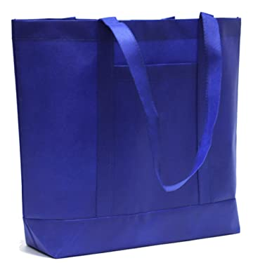 10-Pack Super Large Reusable Heavy Duty Grocery Tote Bag with Pocket, Non-Woven Convention Tote Bags, Premium Quality (Royal Blue, 10 Pack)