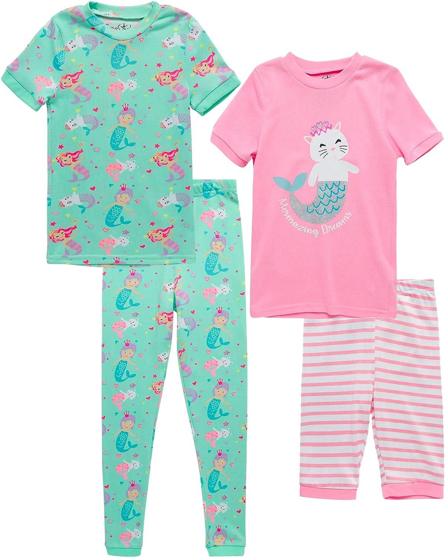 Freestyle Revolution Baby Girls' Pajamas - 4 Piece Sleepwear T-Shirt, Shorts, and Pants