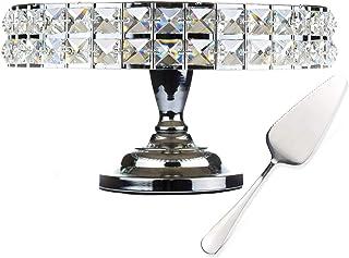 پایه کیک فلزی تزئینی Lindlemann با پایه - پایه کیک گرد با کریستالهای معدنی اصل - کفگیر کیک Bonus - ایده آل برای عروسی ، تولد و موارد خاص (12 اینچ ، نقره ای)