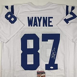 Autographed/Signed Reggie Wayne Indianapolis White Football Jersey JSA COA