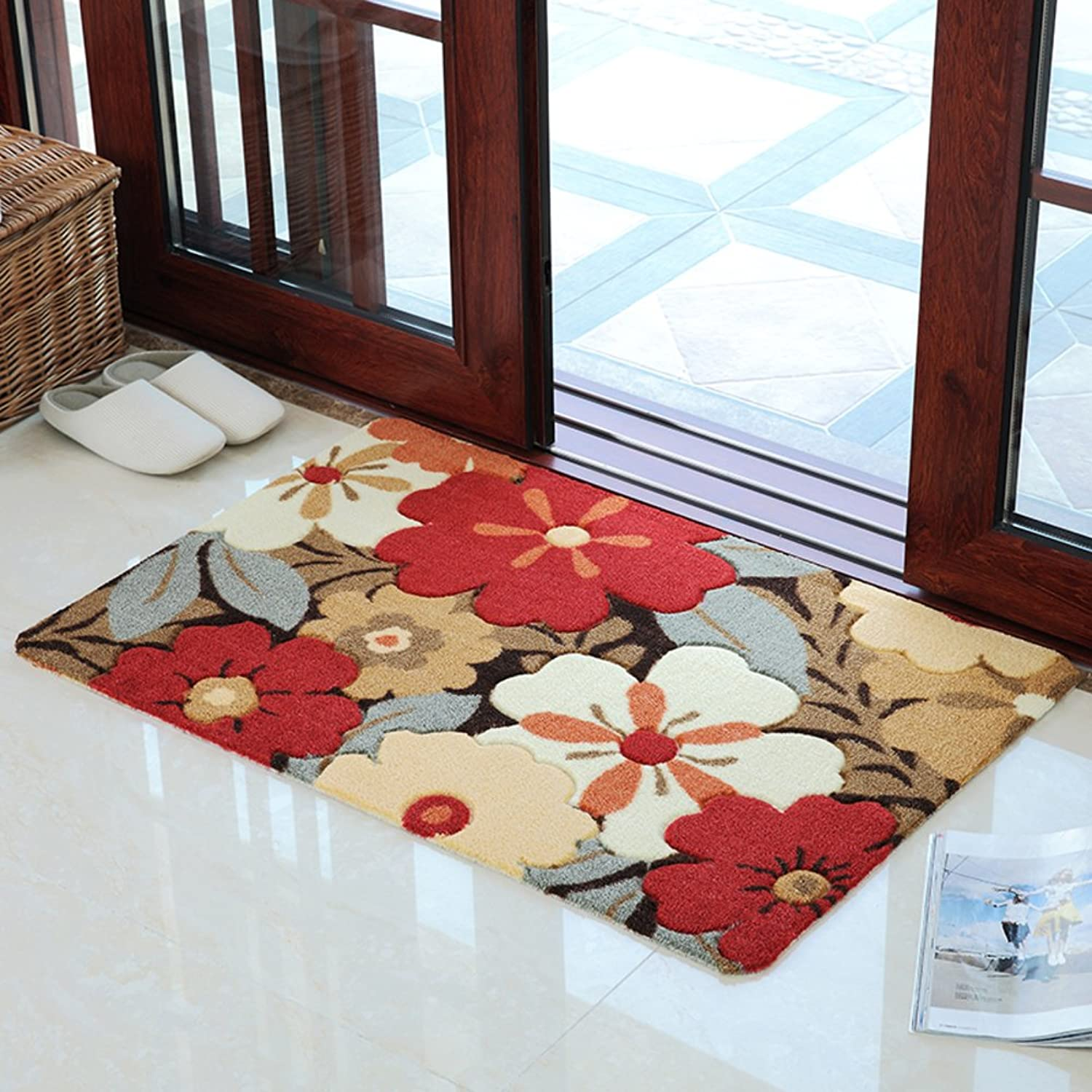 Soft Door Mat, Washable PVC Non-Slip Floor Mat, Entrance Bathroom Kitchen Balcony Corridor, Strong Water Absorption-E 79x118cm(31x46inch)