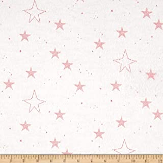 Michael Miller Flannel Sarah Jane Magic Lucky Stars Pink Fabric by The Yard