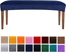 smiry Velvet Dining Bench Cover - Soft Stretch Dining Room Bench Slipcovers Protector, Machine Washable, Snug Fit, Navy Blue