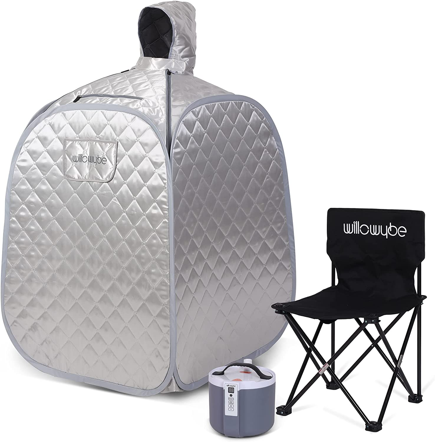 WILLOWYBE Portable Steam Personal Saunas at Home for Detox, Full Body Suna Room with Chair, Remote Control, Silver Prime