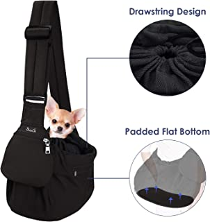Lukovee Pet Sling Carrier, Dog Papoose Hand Free Puppy Cat Carry Bag with Bottom Supported Adjustable Padded Shoulder Stra...