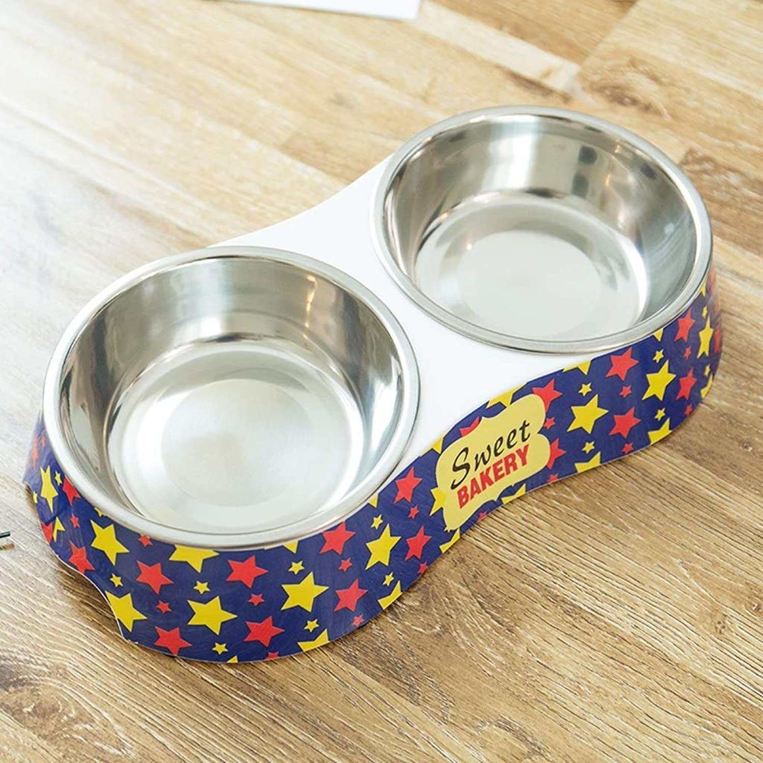 HVTKL Dog Food Bowl Stainless Steel NonSlip Double Bowl Cat Bowl bluee Stars Pet Supplies (Size   S)