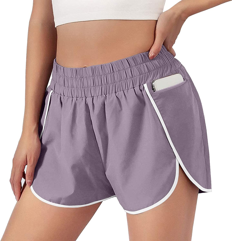 WUAI-Women Quick-Dry Running Biker Shorts Casual Elastic Waist Active Workout Yoga Shorts with Pockets