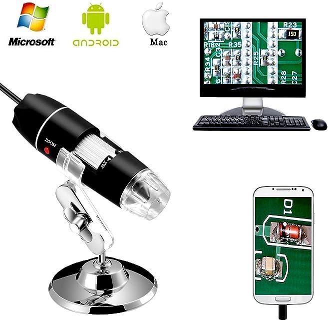 Jiusion 40 A 1000 x endoscopio 8 LED USB 2.0 Digital Microscopio Mini cámara con OTG adaptador y metal soporte compatible con Mac Window 7 8 10 Android Linux