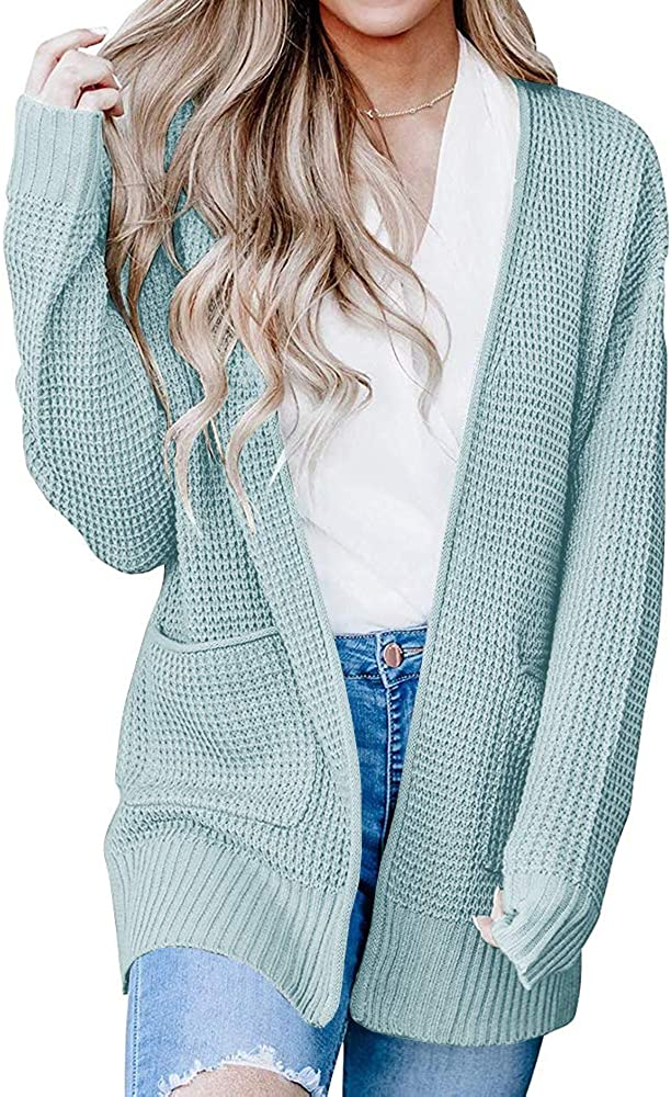 Ybenlow 大人気 Womens 倉庫 Kimono Waffle Knit Long Sleeve Sweaters Cardigan