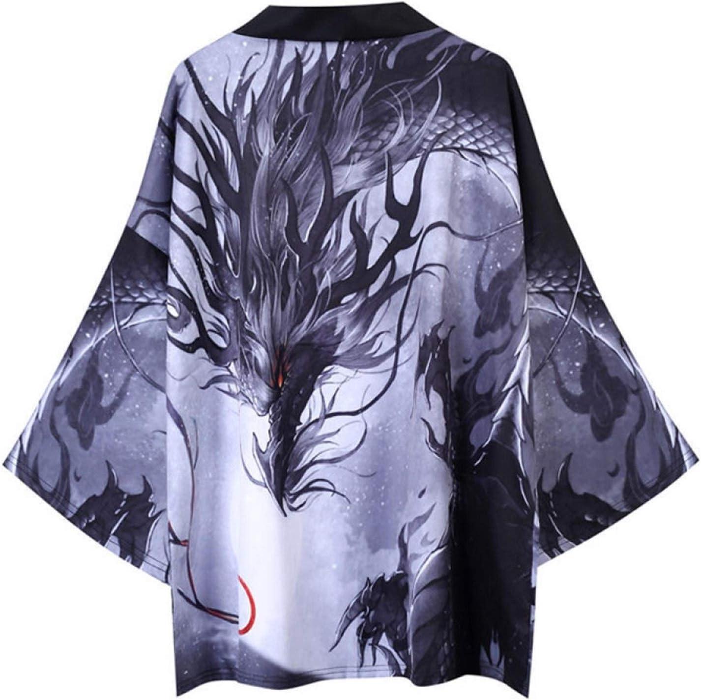 SHUYANshiyu Japanese Retro Dark Dragon Robe Hanfu Men's and Women's Loose Robe Coat (Color : 1, Size : XXL)