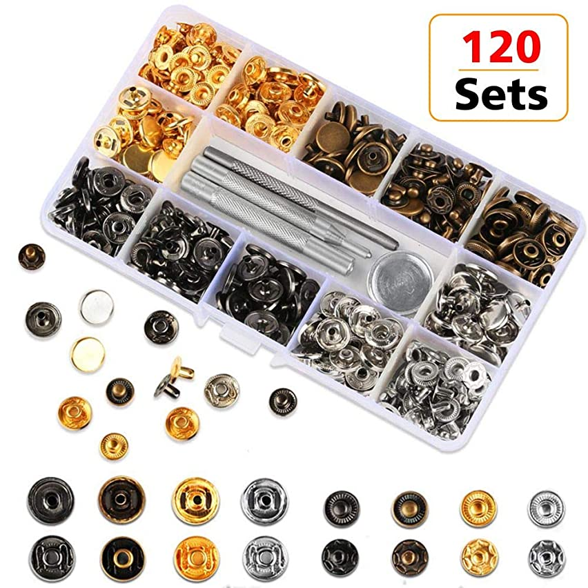 120 Sets Snap Fasteners Kit, 12.5mm Metal Snap Buttons Press Studs with 4 Pieces Fixing Button Tools, 6 Color Clothing Snaps Kit for Thin Leather, Jacket, Jeans Wear, Bracelet, Bags, Belt