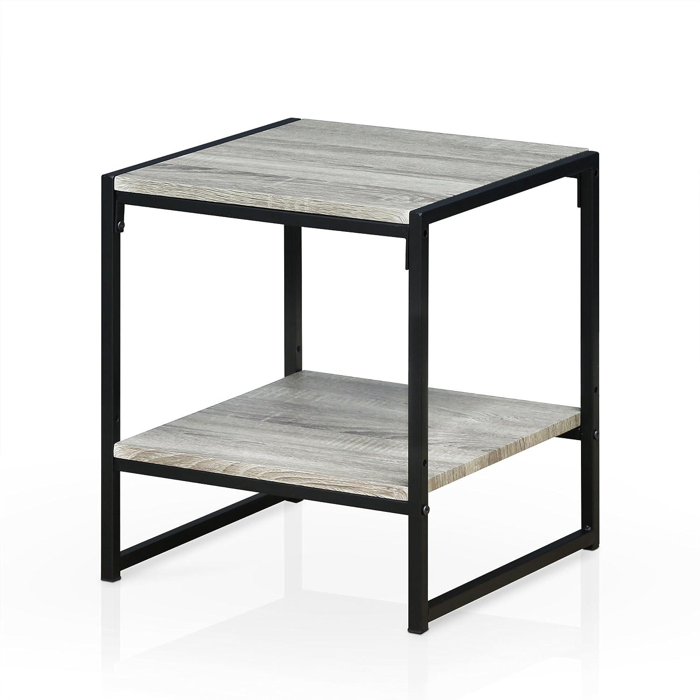 Furinno FM4045ST-2DO Modern Lifestyle 2-Tier End Table, Dark Oak