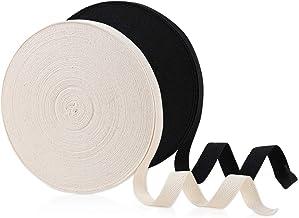 2 Rolls 50 Yards Herringbone Pure Cotton Bias Tape, 100% Cotton Twill Webbing for DIY Crafts Sewing(Beige, Black 5/8 Inch ...
