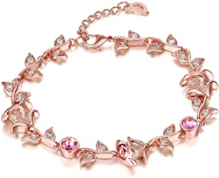 Yellow Chimes Crystals from Swarovski Pink Rose 18K Rose Gold Plated Crystal Pendant Earrings Bracelet Set for Women and G...