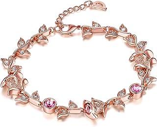 Yellow Chimes Crystals from Swarovski Pink Rose Designer Crystal Bracelet for Women & Girls