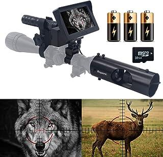"Megaorei Video Record Night Vision Rifle Scopes-328yard / 984ft HD720P Photo Waking، 3MP 16MM IR Optics Scope Hunting camera for Riflescopes-4.3 ""صفحه نمایش HD قابل حمل با کارت 32G SD"