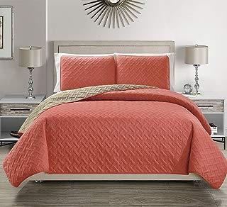 KingLinen Embossed Coral Reversible Bedspread/Quilt Set Twin