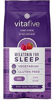 Vitafive Extra Strength Melatonin Gummies - Natural Sleep Aid Gummy Vitamins - Eco Friendly, Natural Strawberry Flavor, Ve...