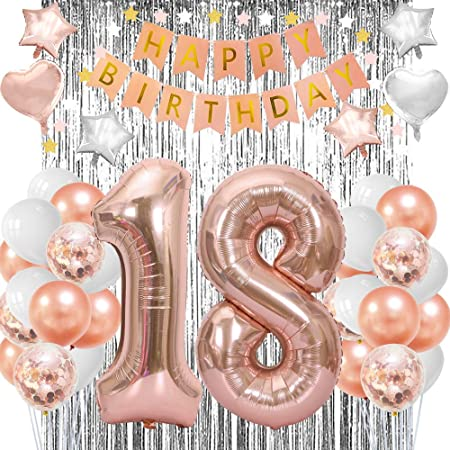 Party Decoration Set 18 Birthday Silver Gold Black Deco Foil Balloon XXL NUMBER