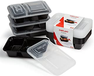 ChefLand New and Upgraded 2-Compartment Food Container with lid/Bento Box/Lunch Tray with Cover (10 Pack), Black