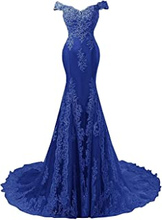 Formal Mermaid Evening Dresses for Wedding Lace Prom Party Dress Gown Off Shoulder Elegant