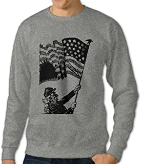 Men Uncle Sam And American Flag O Neck Hoody