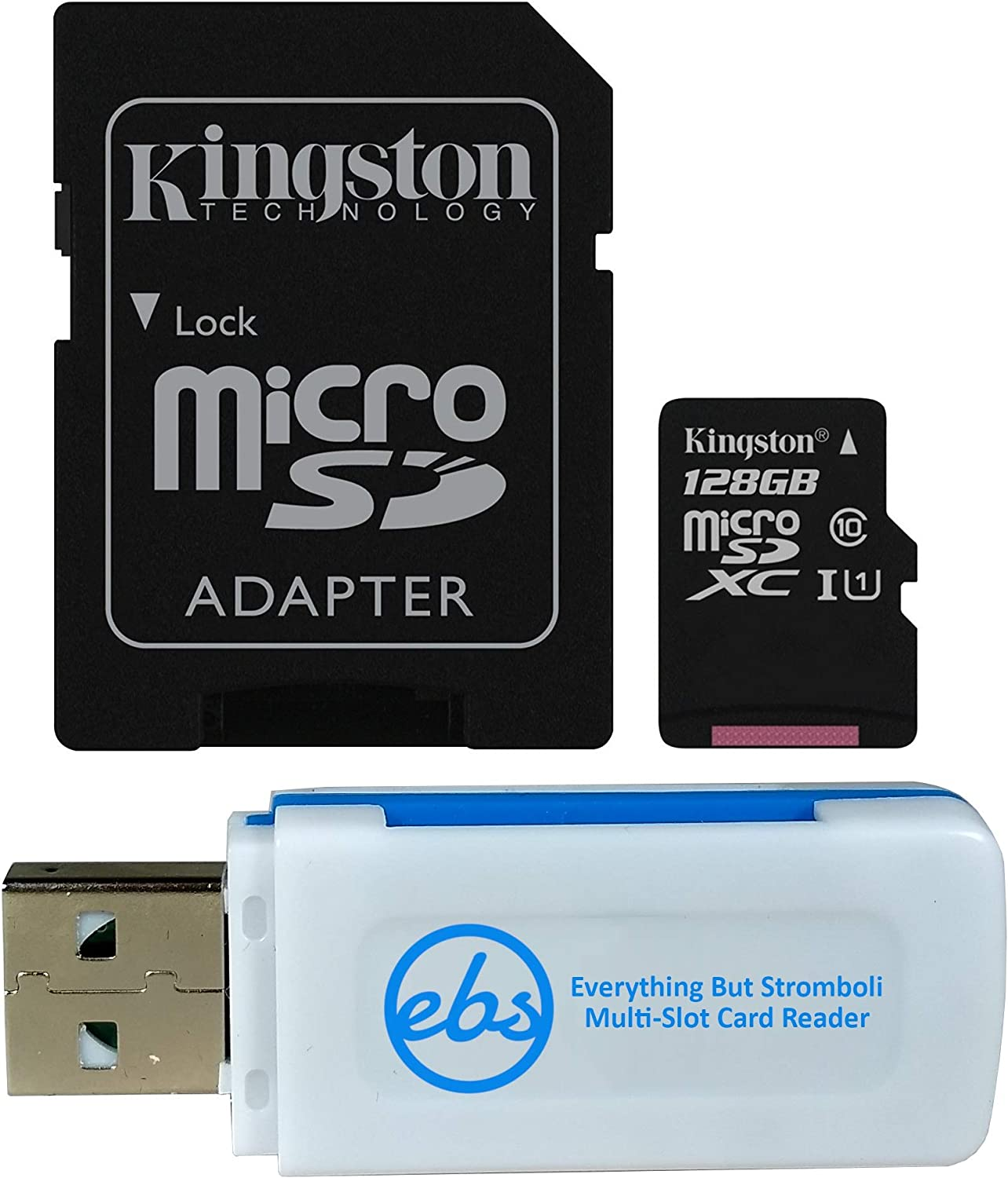 Kingston 128GB SDXC Micro Canvas Select Memory Card and Adapter Works with Samsung Galaxy A50, A40, A30 Cell Phone (SDCS/128GB) Bundle with 1 Everything But Stromboli MicroSD and SD Card Reader