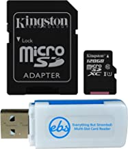 Kingston 128GB SDXC Micro Canvas Select Memory Card and Adapter Bundle Works with Samsung Galaxy A10, A20, A70 Cell Phone (SDCS/128GB) Plus 1 Everything But Stromboli (TM) MicroSD and SD Card Reader