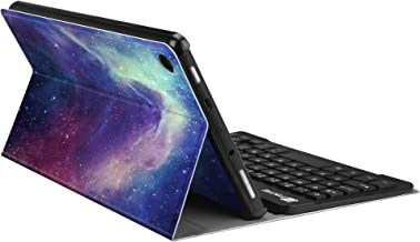 Fintie Keyboard Case for All-New Amazon Fire HD 8 (7th and 8th Gen, 2017 and 2018 Releases), Slim Shell Lightweight Stand Cover with Magnetically Detachable Wireless Bluetooth Keyboard, Galaxy