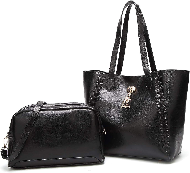 Andrya Women Leather Tote Bags Satchel Top Handle Cross Body Shoulder Hobo Handbags for Ladies Black