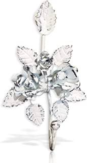 Key Holder for Wall Décor. Decorative Key Hooks. Vintage Antique Metal Leaves. Shabby Chic Floral Design (White)