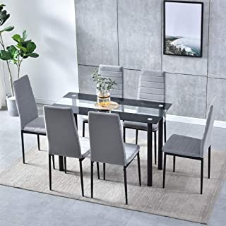 Amazon Com Kitchen Dining Room Sets 7 Pieces Table Chair Sets Kitchen Dining Ro Home Kitchen