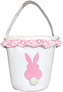 Easter Bunny Basket Bags - Easter Baskets for Kids - Bunny Canvas Tote Bag Bucket for Easter Eggs, Toys, Candy, Gifts