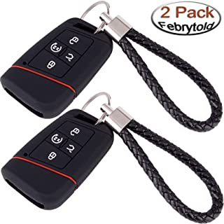 Febrytold 2 Pcs Silicone Car Key Cases for VW Passat Tiguan 2018 2019, Black 4 Buttons Remote Fob Key Cover for 2018 2019 VW Alltrack Atlas Golf with 2 Pcs Black Braided Car Keychains