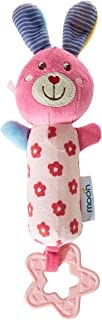 MOON SOFT Rattle Plush Toy with colorful Characters in several styles with shapes and squeaker sounds and teether, 6 month...