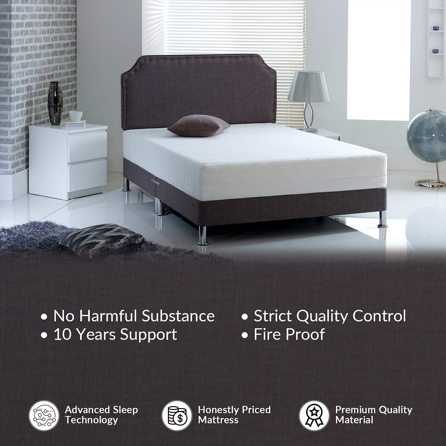 Visco Therapy King Size Mattresses 15 cm High Mattresses with Cool Cleanable Cover KingSize Mattress with Size of 5ft 150cm x 200cm