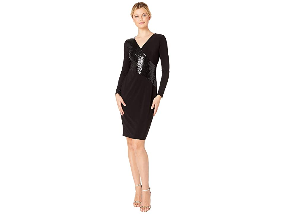 LAUREN Ralph Lauren 4R Matte Jersey Jodi 3/4 Sleeve Day Dress (Black/Black Shine) Women