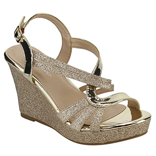 dfb347435f41 Forever FQ22 Women s Glitter Strappy Wrapped Wedge Heel Platform Sandals