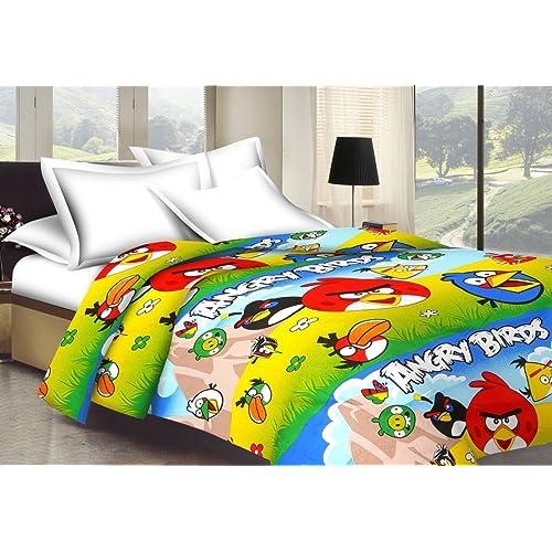 Shopnetix Monil Angry Birds Cartoon Character Kids Single Bed Reversible Polyester AC Blanket (Standard Size, Multicolour)