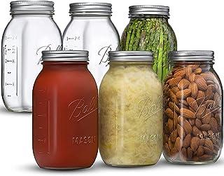 Ball Regular Mouth Mason Jars 32 oz [6 Pack] With mason jar lids and Bands, Ball mason jars 32 oz - For Canning, Fermentin...