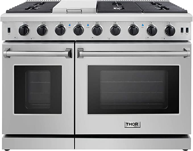 Amazon Com Thor Kitchen Lrg4807u Pro Style Gas Range With 6 Burners And Double Ovens 48 Inch Stainless Steel Appliances