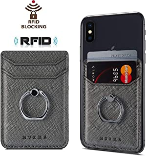 Phone Card Holder with Ring Grip for Back of Phone,Adhesive Stick-on Credit Card Wallet Pocket for iPhone,Android and Smartphones,Gun Metal
