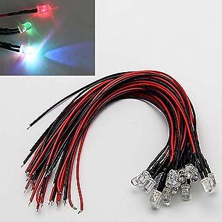 VISSQH 50Pcs 3mm DC 3-12V Diode Ampoule LED C/âbl/é,Diodes LED pr/éc/âbl/ées 3 mm 12 V 50Pcs Plastique 3mm LED Lumiere Panneau de Support de Montage+5Pcs connecteur pile 9v